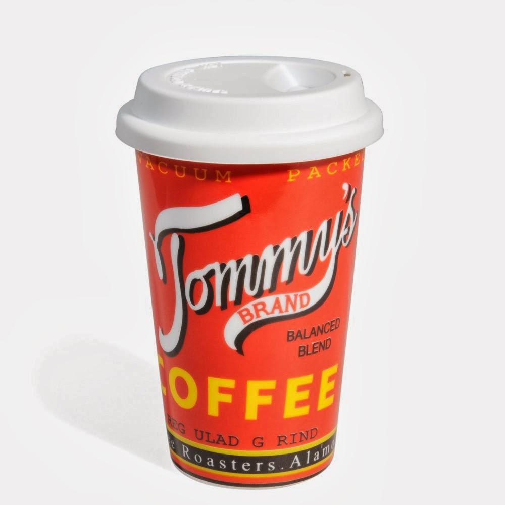 Cestovní porcelánový hrnek s víčkem - Tommy's COFFEE