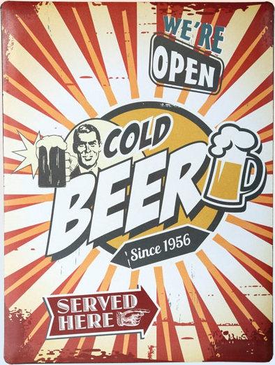 Americká cedule - Cold beer