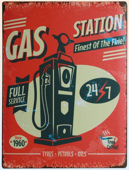 Americká cedule - Gas station