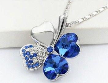 Náhrdelník čtyřlístek - modrý
