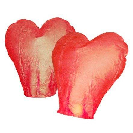 Lampion štěstí - srdce červené