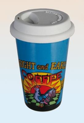 Cestovní porcelánový hrnek s víčkem - BRIGHT and EARLY Coffee