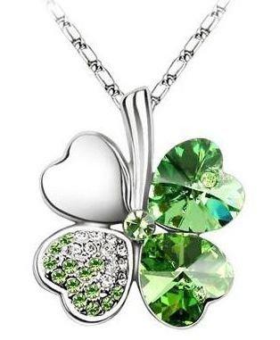 Náhrdelník čtyřlístek - zelený