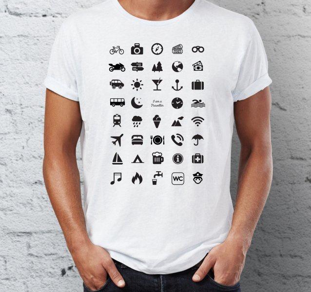 Cestovní tričko s ikonami bílé