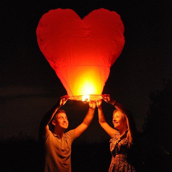 Lampiony štěstí - Sada srdce červené 10ks