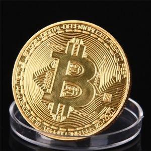 Dekorační mince se znakem Bitcoinu