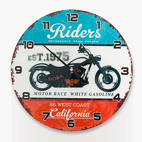 Stylové skleněné hodiny - California Riders