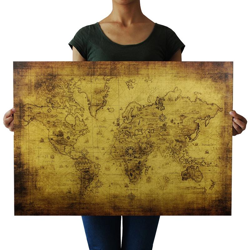 Retro plakát - Mapa světa vintage