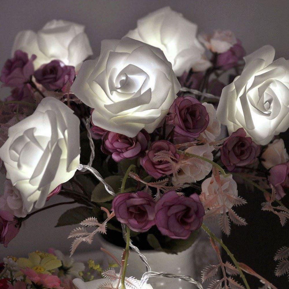 LED Svítící růže - řetěz