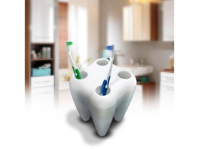 Zubní držák kartáčků - bílý