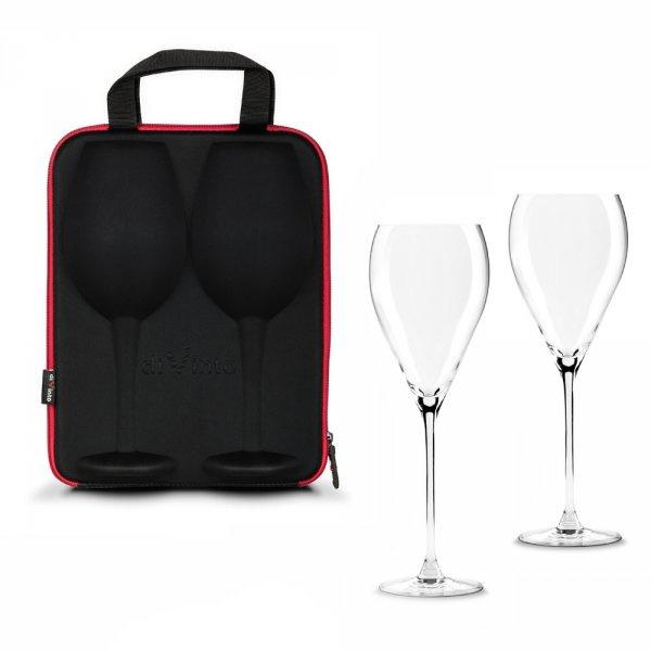 Luxusní obří sklenice na víno - sada 2ks v pouzdře - čiré sklo