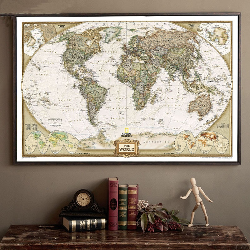Retro plakát - Mapa světa